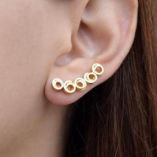 Ear Cuff earrings,Climbing earrings,925 solid sterling silver,Hypoallergenic gold ear cuff gold ear crawler 18K gold plated