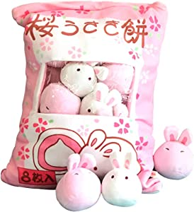 Nenalayo Cute Throw Pillow Stuffed Animal Toys Removable Fluffy Bunnies Creative Gifts for Teens Girls Kids
