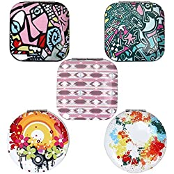BMC Womens 5 pc Mixed Design Alloy Metal Folding Compact Travel Pocket Beauty Makeup Mirrors - Set 4: Urban Art