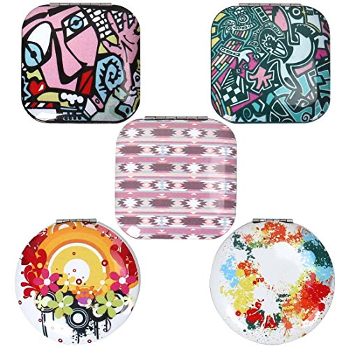 (BMC Womens 5 pc Mixed Design Alloy Metal Folding Compact Travel Pocket Beauty Makeup Mirrors - Set 4: Urban Art)