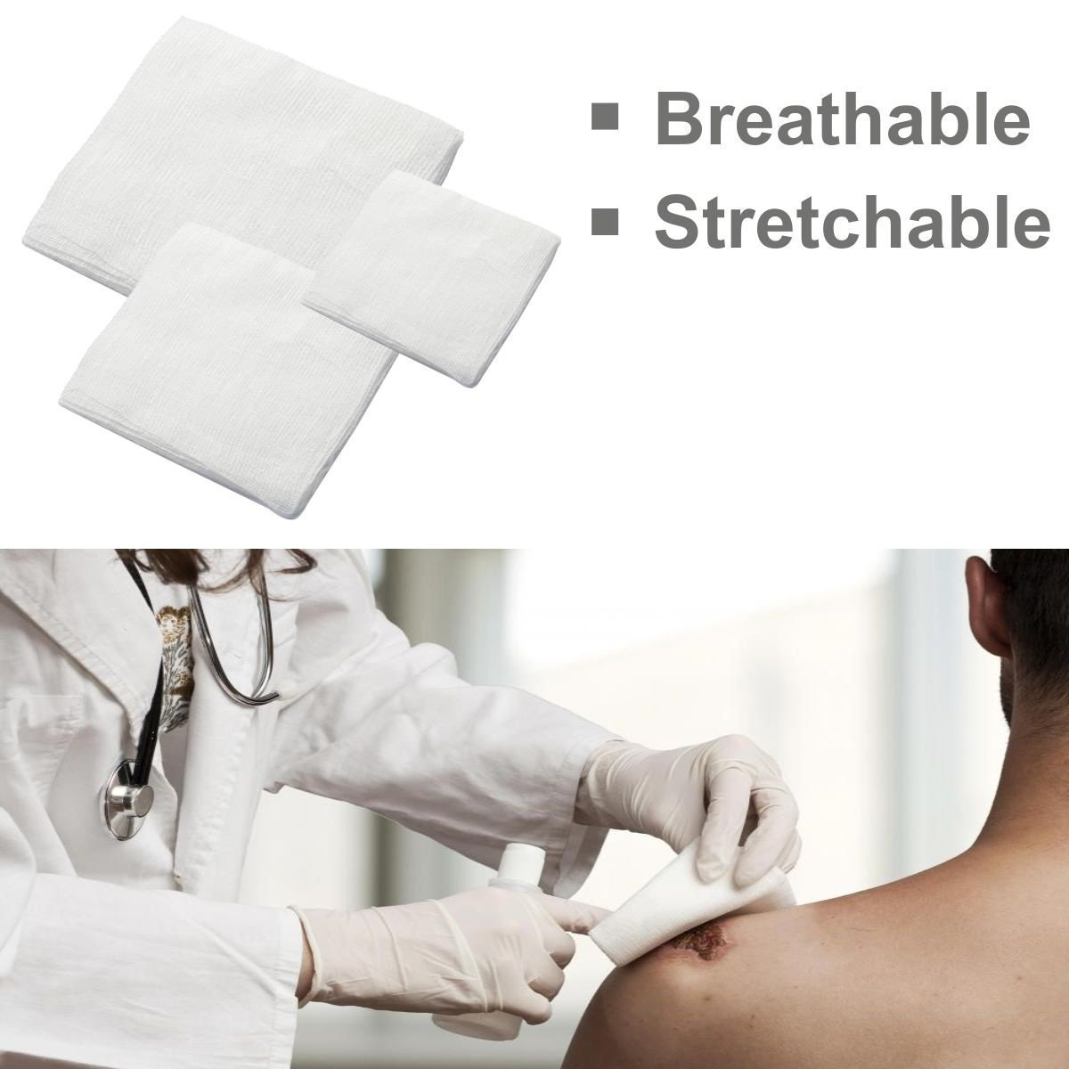 Stretchable Breathable Emergency Kits First Aid Supplies Wound Gauze Pad 100% Safe Medical Dressing pads Shooting Star Essentials