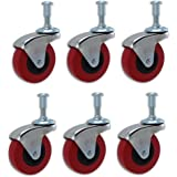"6 Pack Heavy-Duty 2"" LOW PROFILE Swivel Caster Wheel for Creeper Service Cart Stool Post Mount"
