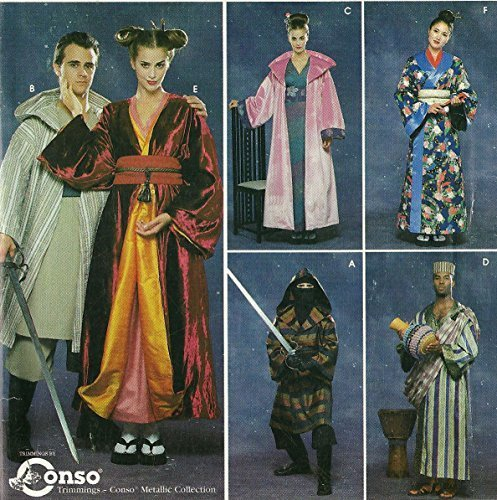 Costume Pattern Simplicity 8944 for Geisha, Ninja, African Robes Adult S-M-L