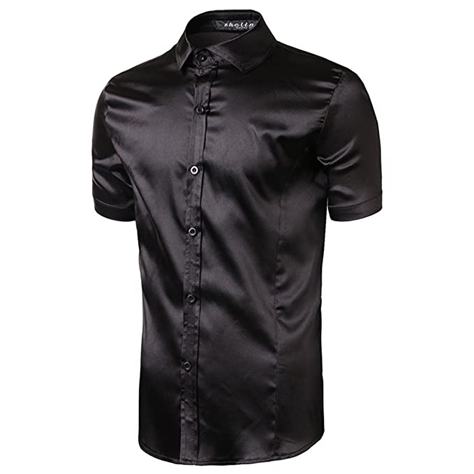 Amazon.com: egolanding hombre color sólido seda Slim Fit ...