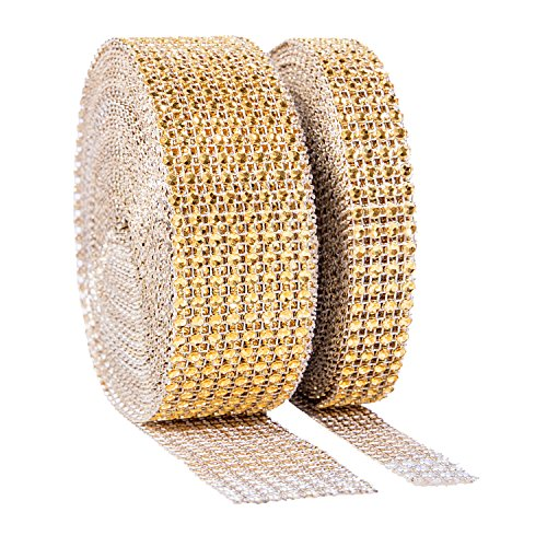 1 Roll 8 Row 10 Yard and 1 Roll 4 Row 10 Yard Acrylic Rhinestone Diamond Ribbon For Wedding Cakes, Birthday Decorations, Baby Shower Events, Arts and Crafts Projects (2 Rolls Silver) (20 Yard, Gold)