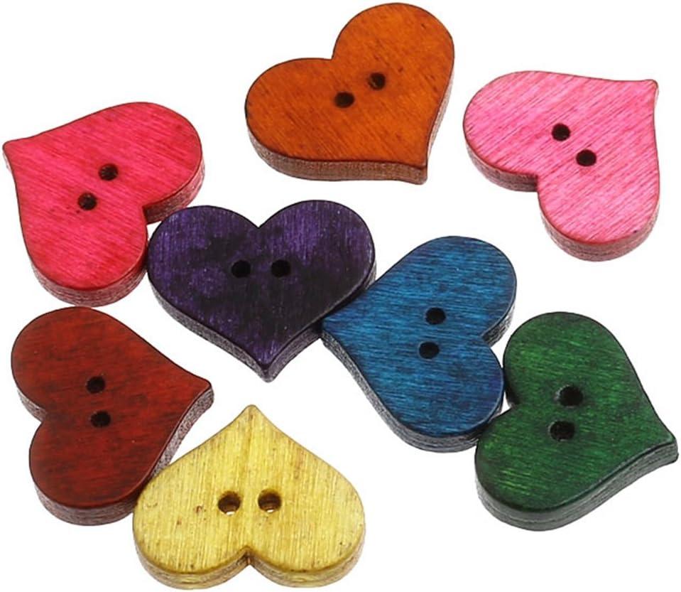 10 Plain wooden heart shaped medium buttons 15 x 17mm sewing