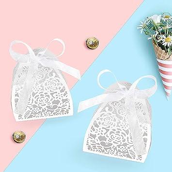 Yansion - Caja para dulces de boda, 25 unidades, corte láser, para novia