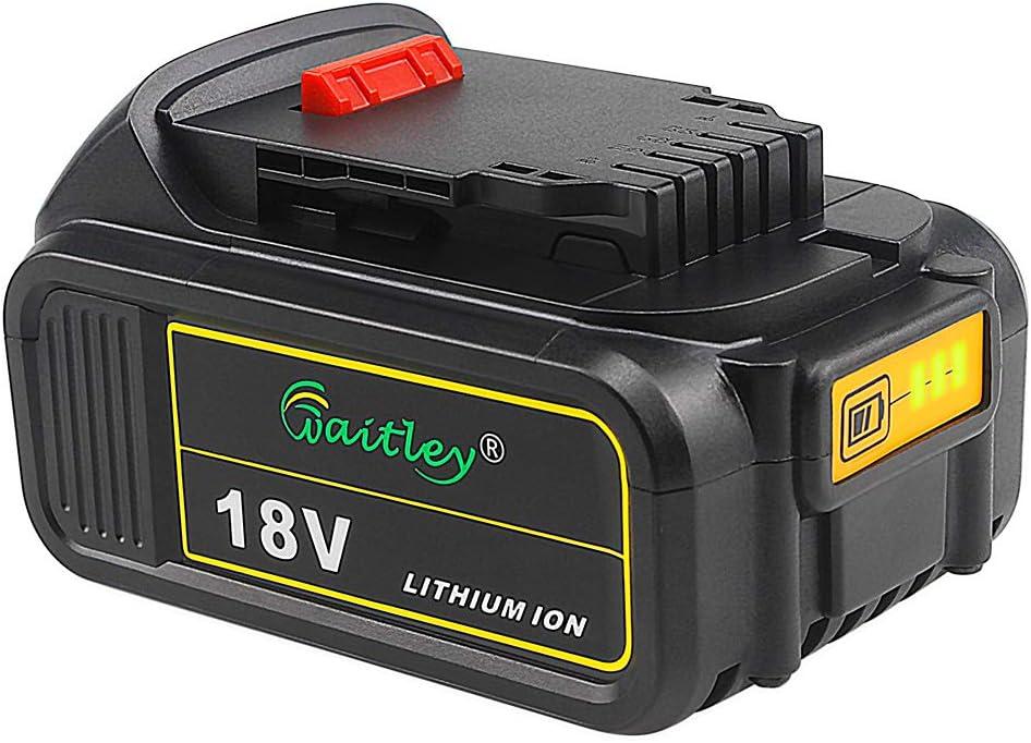 Waitley DCB184 18V 5.0Ah Batería de repuesto para Dewalt DCB200 DCB183 DCB185 DCD785 DCD795 DCF885 DCF895 DCS380 DCS391 de ion de litio MAX XR Batería