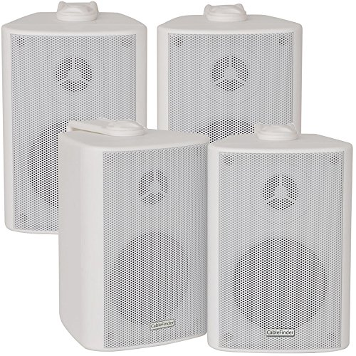 "2x Pair 2 Way Compact Stereo Speakers -3"" 60W 8Ohm- White Wall Mounted..."