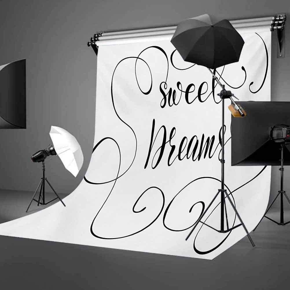 Inspirational Text with Modern Romantic Calligraphy Design and Swirls Background for Party Home Decor Outdoorsy Theme Vinyl Shoot Props Black and White Sweet Dreams 10x12 FT Photography Backdrop