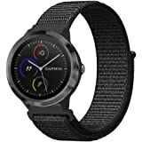 FINTIE For Garmin Vivoactive 3 Band, 20mm Nylon Sport Loop Replacement Strap Accessories Bands with Adjustable Closure for Vivoactive 3/Forerunner 645 Music/Vivomove HR Smartwatch, Black