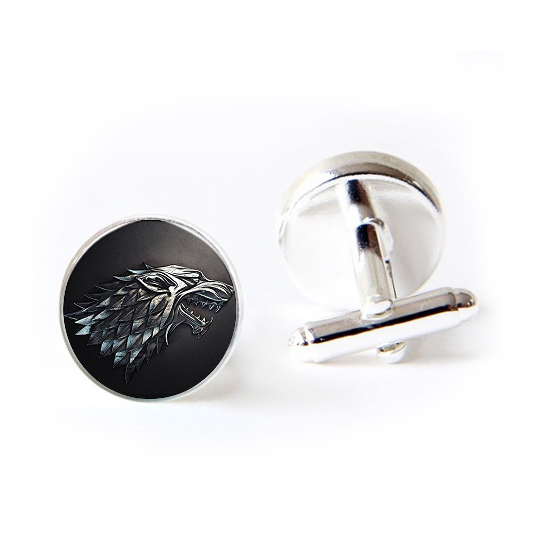 LooPoP Round Cufflink Set Game Of Thrones Inspired House Stark Of Winterfell Cufflinks For Men's Accessories Shirts Business Wedding