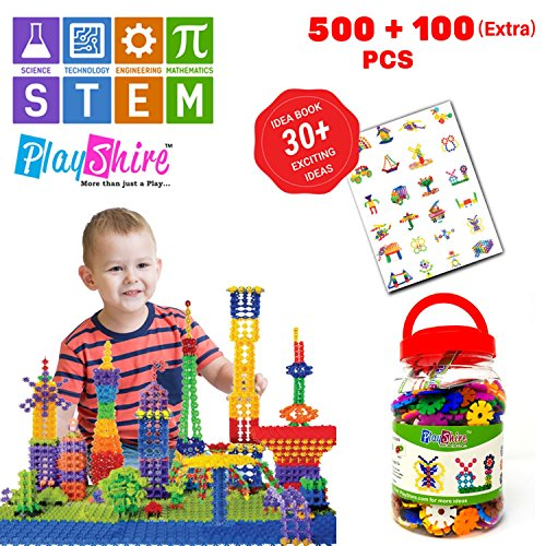 PlayShire Fun Flakes / Brain Flakes 600 Pieces Educational Toy Set. Construction Toy Set for Boys & Girls. Creative STEM Toy Kit With Endless Objects & Shapes. Fun Kids Learning - Face Shape To Out Figure How