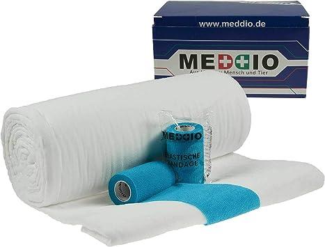 Protectora dura para! Botiquín de primeros de algodón/Mullwatterolle 40 cm + 12 lote de papel de vendaje de 10 cm colour azul claro: Amazon.es: Salud y cuidado personal