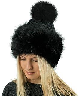 ba229e59896 TOSKATOK Ladies Warm Faux Fur Knitted Bobble Beanie Hat Pom Pom Cossack  Russian Cap…