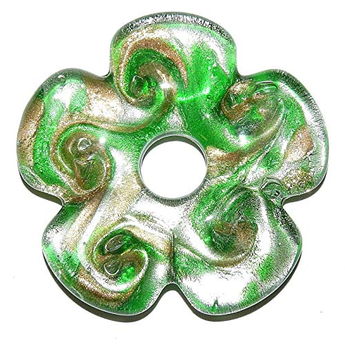 (Flower Donut Lampwork Glass Focal Pendant Green w Gold & Silver Foil 56mm)