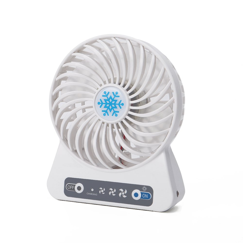 Echeer Mini USB Fan, Table Desktop Personal USB Fan Powered By Battery & USB Plug in Rechargeable for Computer Laptop Office Use