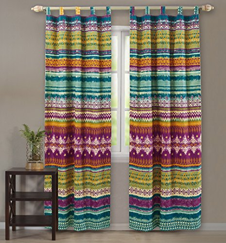 Western Tribal Geometric Chevron Stripe Pattern Print Multicolor Blue Pink Yellow Tab Top Window Curtains Panels Pair 84 Length Set of 2