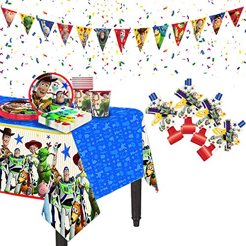 Disney Toy Story one stop shop birthday party kit. All in one party bundle. Decoration supplies set of birthday banner, party blowouts, table cover, confetti, plates, cups, and napkins. -