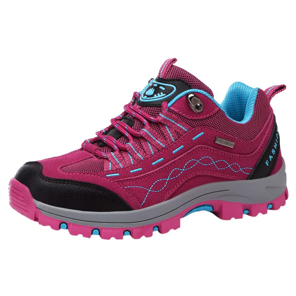 HYSGM Women's Hiking Running Sports Shoes Mesh Breathable Leisure Shoes (6.5, Pink)
