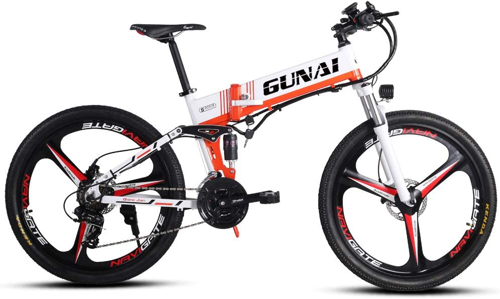 GUNAI 350W Bicicleta de montaña eléctrica 48V Motor 26 Pulgadas ...