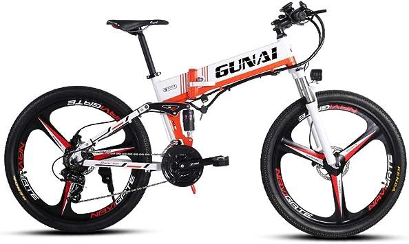 GUNAI Bicicleta de montaña eléctrica de 350 W Motor de 48 V Ruedas ...