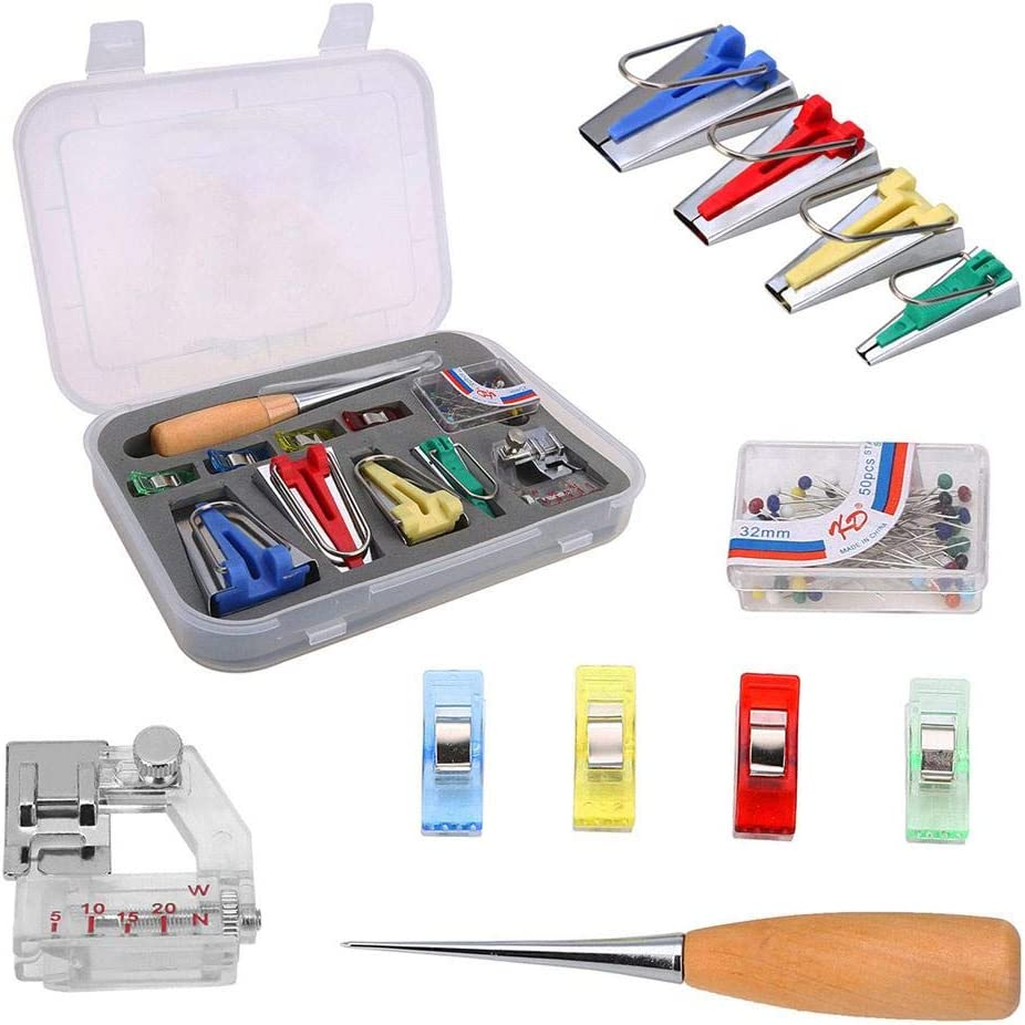 4 Sewing Clip with Bias Binding Foot and 4 Empty Heat Erase Pens with 16 Refills for Sewing DIY Quilt Binding 50 Pieces Sew Pins Include 4 Size Bias Tape Maker 80 Pieces Bias Tape Maker Kits Awl