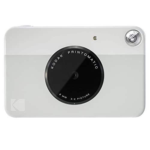 Kodak PRINTOMATIC Digital Instant Print Camera (Grey), Full Colour Prints On ZINK 2x3 Sticky-Backed Photo Paper - Print Memories Instantly
