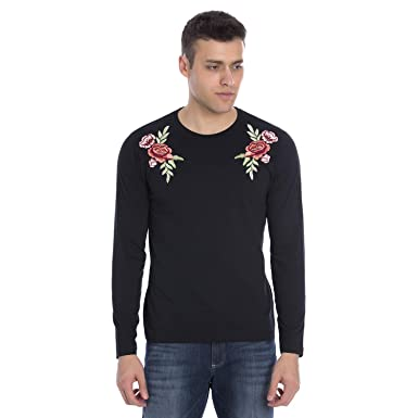 Marca Disati Mens Long Sleeve Placement Embroidered T-Shirt  Amazon ... f32ab9044d3