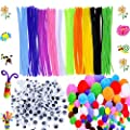 500 Pcs Craft Supplies Set Which Includes 100 Pcs Pipe Cleaners Chenille Stem, 250 Pcs Pom Poms, 150 Pcs Wiggle Googly Eyes for School Art Projects by BellaBetty