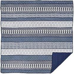 VHC Brands Coastal Boho & Eclectic Bedding - Ceylon Indigo Blue Quilt, Queen