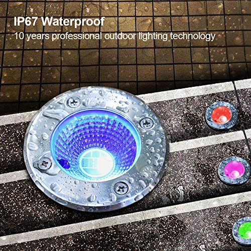ZUCKEO 5W RGB LED Remote Control Landscape Lighting In-ground 12V 24V Low Voltage IP67 Waterproof Garden Light with Transformer, 16 Color-changing Outdoor Spotlights Decorative Pathway Lights (6 Pack) by ZUCKEO (Image #3)