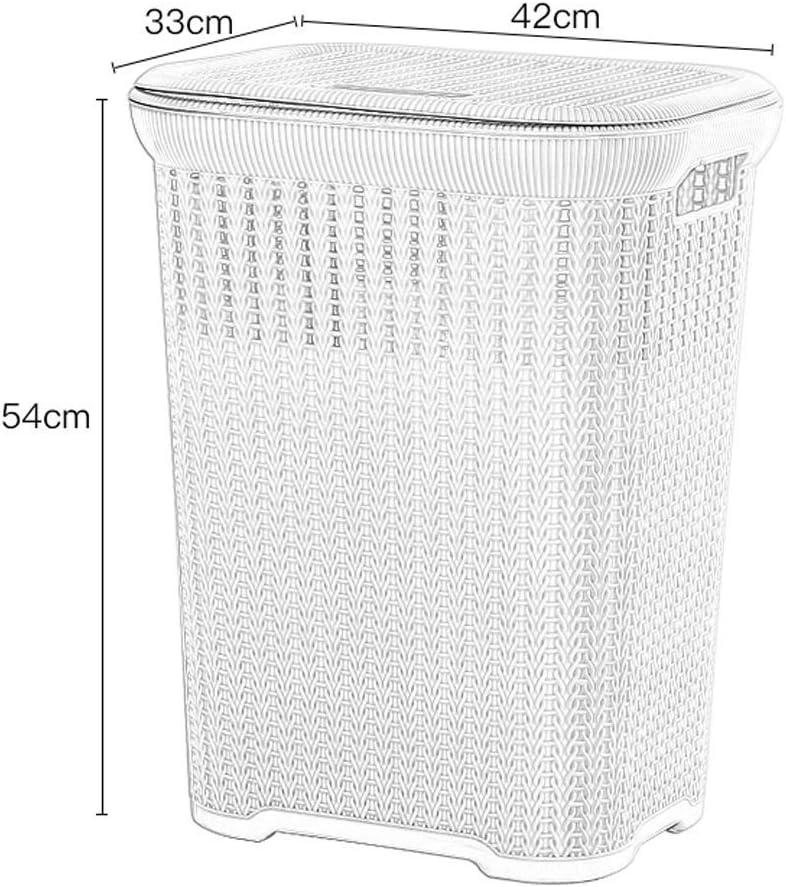 csgfa Clothes Basket Laundry Basket Portable Anti-Rat Plastic Hollow Dirty Hamper Clothes Sundries Storage Basket, 42 33 54Cm,Beige