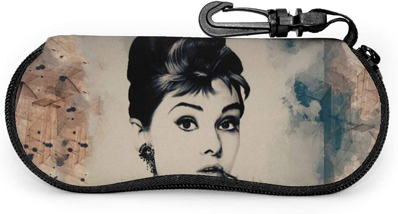 Audrey Hepburn Funda para gafas de sol con cremallera de viaje port/átil de neopreno suave con clip para cintur/ón.