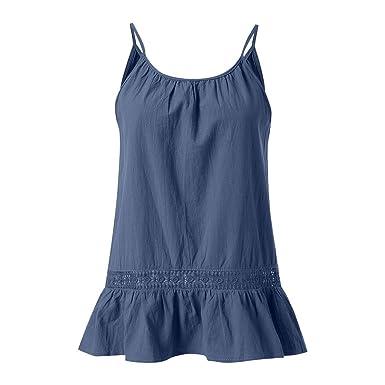 Qingsiy Verano Camisetas Chaleco con Cuello En O Color Sólido ...