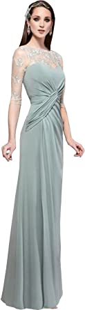 Newdeve Emerald Green Mother Of The Bride Dress Long With 3 4 Sleeve At Amazon Women S Clothing Store