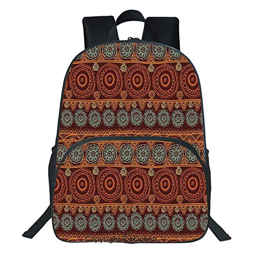 Oobon Kids Toddler School Waterproof 3D Cartoon Backpack, Aboriginal Patterns with Lace Round Line Floral Circles Australian Art Image, Fits 14 Inch -