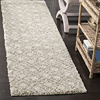 Safavieh Arizona Shag Collection ASG740A Southwestern Diamond Geometric Ivory and Beige Runner (23 x 6)