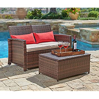 Suncrown Outdoor Furniture Wicker Love seat with Coffee Table  2 Piece Set   Built In Storage Bin   Comfortable  All Weather Cushions   Patio  Backyard. Amazon com   Keter Corfu Love Seat All Weather Outdoor Patio