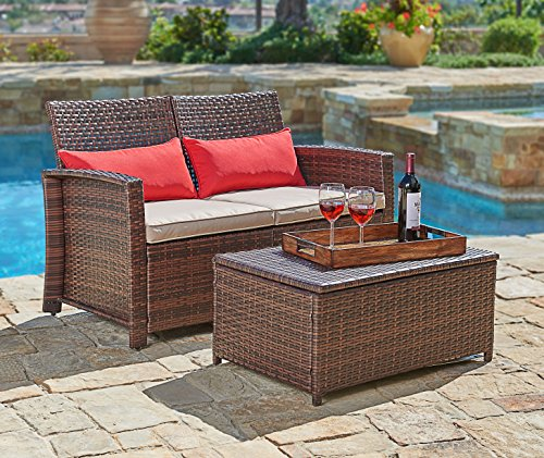 Sofa Open Seat Back 2 (Suncrown Outdoor Furniture Wicker Love-seat with Coffee Table (2-Piece Set) Built-In Storage Bin | Comfortable, All-Weather Cushions | Patio, Backyard, Porch, Garden, Poolside)