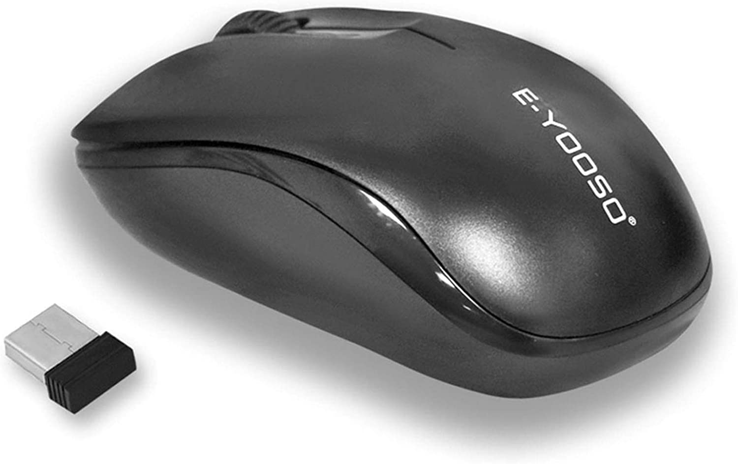 Wireless Mouse,E-YOOSO 2.4GHz Basic Fast-Scrolling&Ergonomic Minimalist Computer Mouse,800/1200/1600 Adjustable CPI,Solid Wireless Mice with Long Battery Life for Laptop/PC/Computer/Chromebook,Black