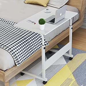 SSLine Magazine Snack Table on Wheels, Lifting Laptop Computer Desk Movable C-Shaped Overbed TV Tray Mobile Sofa Chair Side End Table for Living Room Bedroom(31.5 L x 15.75 W x 26.77-34 H) (White)