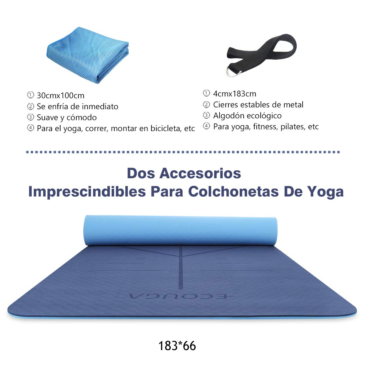 ECOUGA Colchoneta de Yoga Antideslizante con Línea Corporal para Pilates Ejercicio con Banda Tensión Toalla de Hielo Sin PVC Eco Friendly y Duradera ...