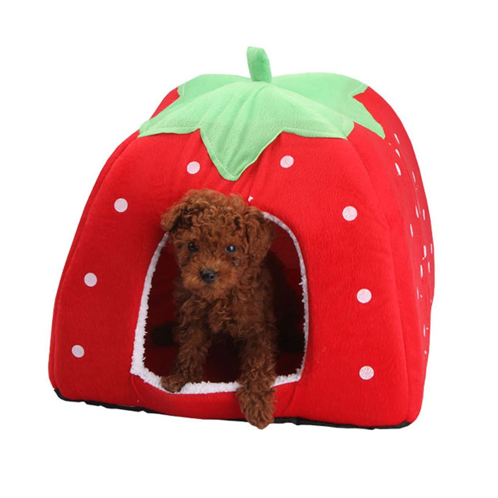 Daycount® Warm Soft Majestic Foldable Dog Cat Tent Bed Animal Cave Puppy Cute Pet Cat House 5 Sizes (Large, Strawberry) by Daycount® (Image #2)
