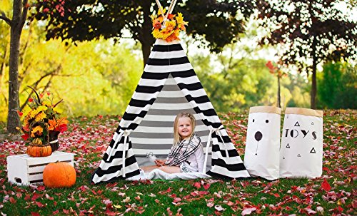 (Kids Teepee Black and White Nautical stripes Tipi with Poles Large Playhouse Play Photo prop Indoor Tent Small Canvas Teepee)