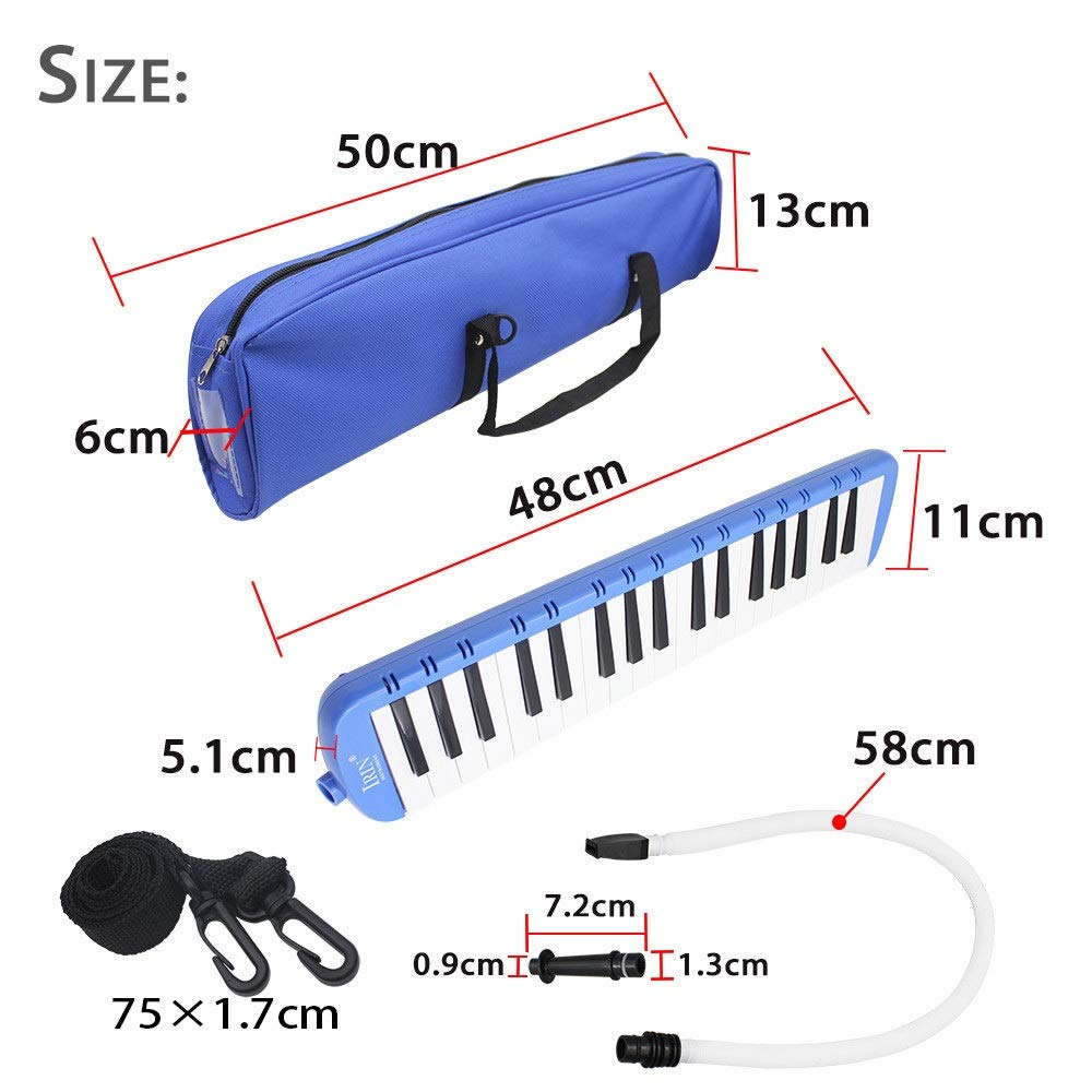 Melodica Musical Instrument 37 Keys Piano Style Melodica Full Sets With Carrying Bag Straps Double 2 Mouthpieces Tube Educational Portable Musical InstrumentGift Toys For Kids Music Lovers Beginners f by Shirleyle-MU (Image #6)