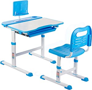 NEEZEE Kids Desks and Chair, Height Adjustable Children Desk and Chair Set, Childs School Student Sturdy Table with Tilt Writing & Drawing Desktop, Storage Drawer, Pencil Case, Bookstand (Blue)