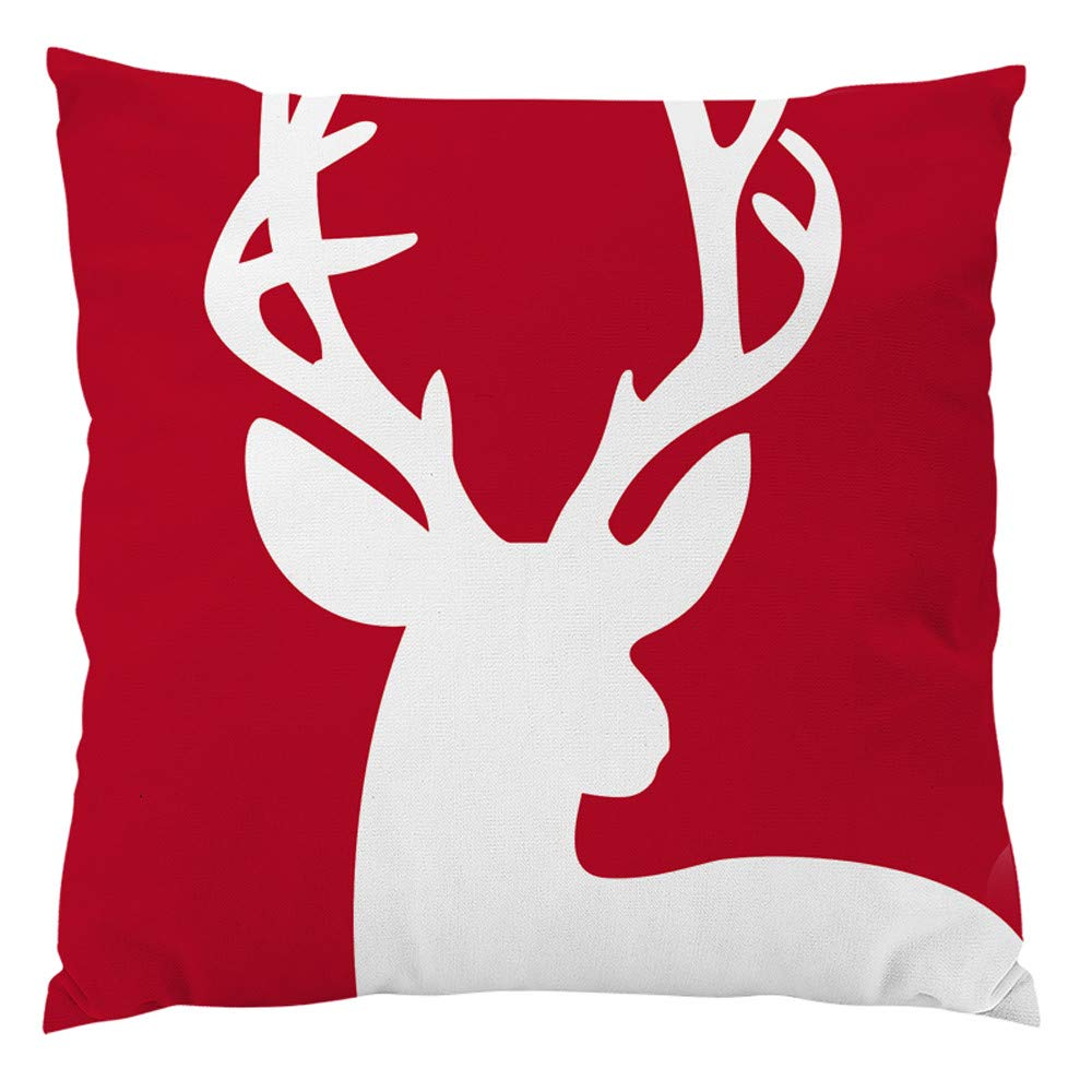 Mamum Housse Coussin Noël-Série Decoration canapé scandinave Deco Noel Decoration Coussin Noel taie Noel de fête, Merry Christmas 45x45cm (A) XXH-18101706