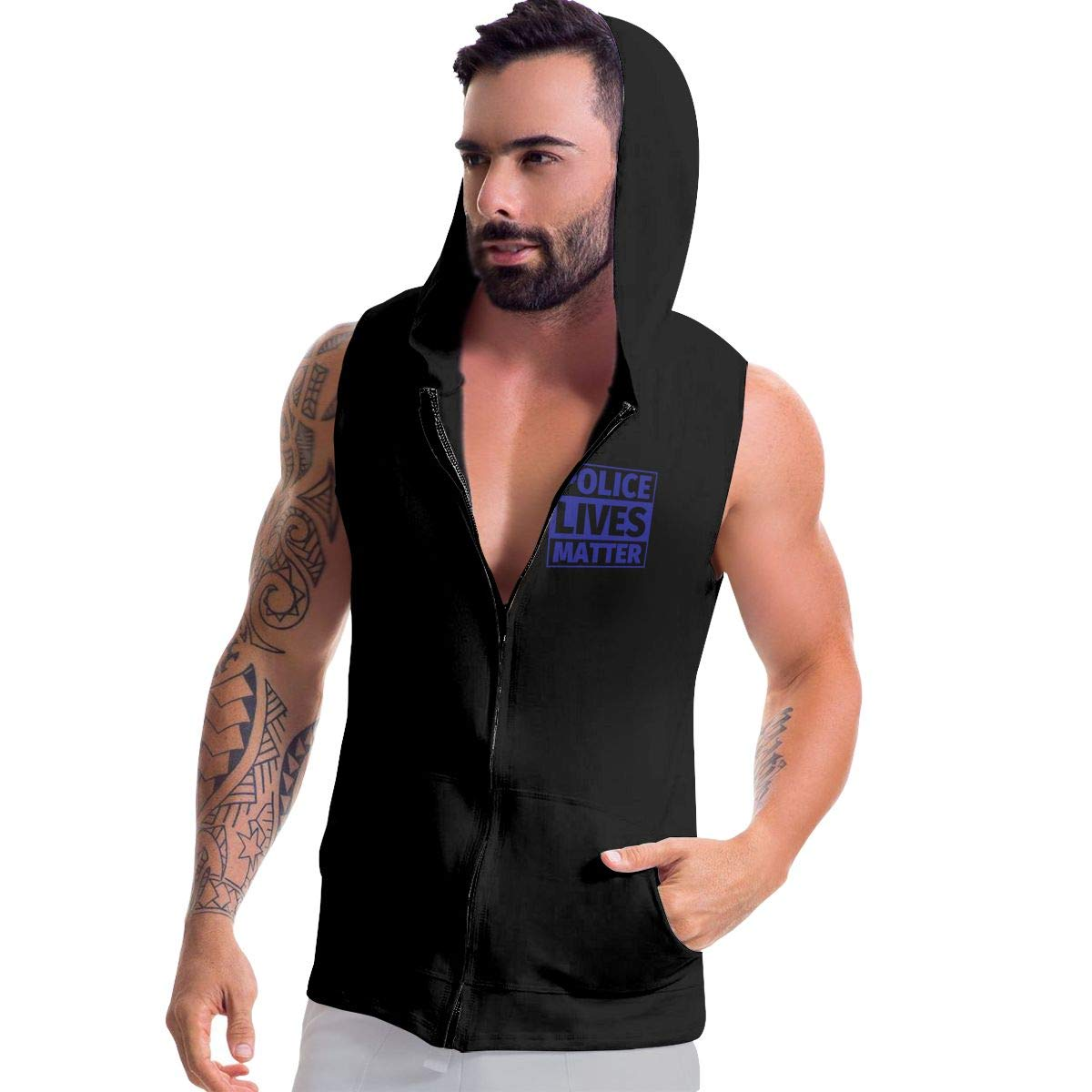 Police Lives Matter Mens Sleeveless Full Zip-Up Fleece Hoodie Active Workout Vest Tank