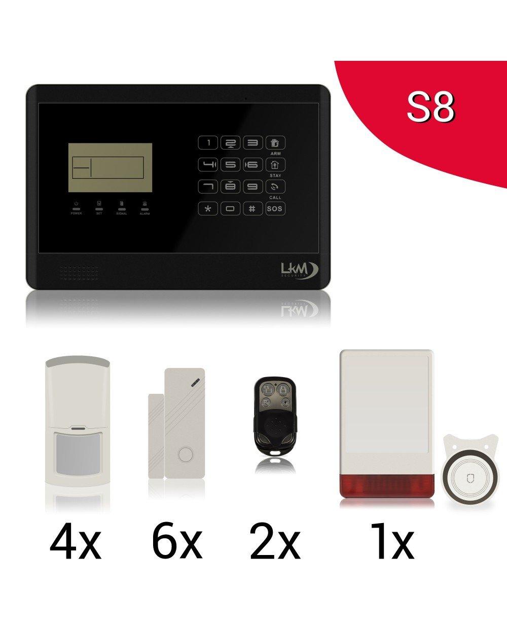 LKM Security Set de Alarma antirrobo inalámbrico para la casa, Modelo WG-YL007M2E+5S+3PIR+SIR08, se Puede controlar Desde el teléfono móvil usando la ...